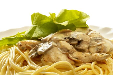 Pasta with creme mushroom sauce over macro shot Stock Photo