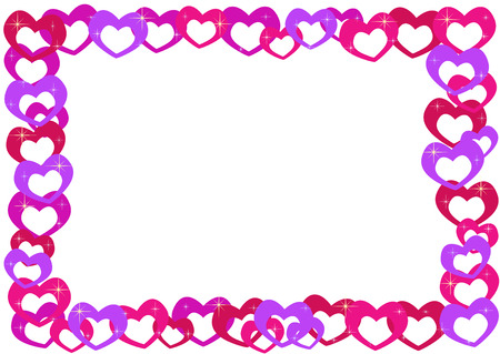 simple frame: 60�s cartoon style colored hearts frame (with little sparks) Illustration