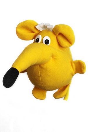 soft toy: Yellow toy funny fat mouse over white background