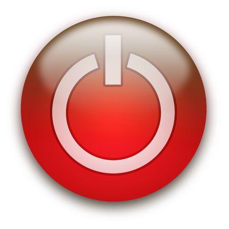 Glanzend ronde aan / uit-knop geïsoleerd via witte achtergrond