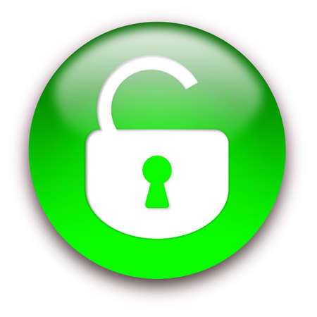 Opened lock round glossy button isolated over white background