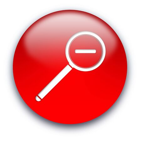 Magnifier round glossy button isolated over white background Stock Photo - 5566174