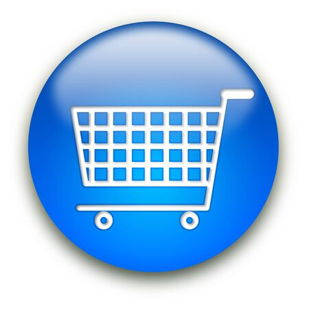 Shopping cart round glossy button isolated over white background Stock Photo - 5566162