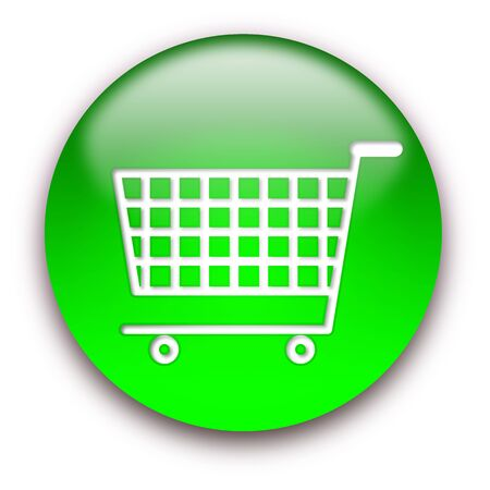 Shopping cart round glossy button isolated over white background Stock Photo - 5566186