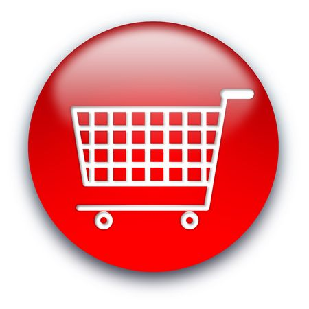 Shopping cart round glossy button isolated over white background Stock Photo - 5566184