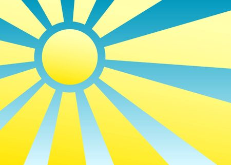 Simplest 2D sun and rays over blue sky background photo