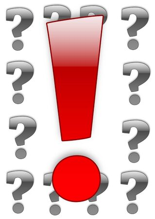exclamatory: Red exclamation mark over white background with question marks border Stock Photo