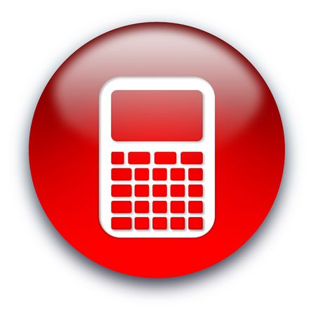 Glossy calculator icon button isolated over white background Stock Photo - 5605699