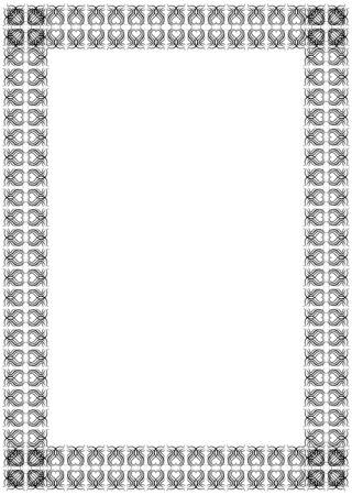 border line: Black curved twisted line silhouette ornament frame Illustration