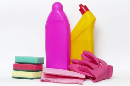 carpet clean: Set of cleaning up stuff isolated over white background Stock Photo