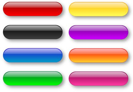 Colored aqua style bar buttons set over white background Stock Photo - 5786897