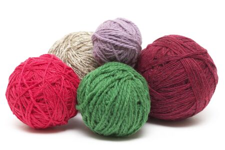 Five colored wool clews stack isolated over white background Stock Photo - 5821115