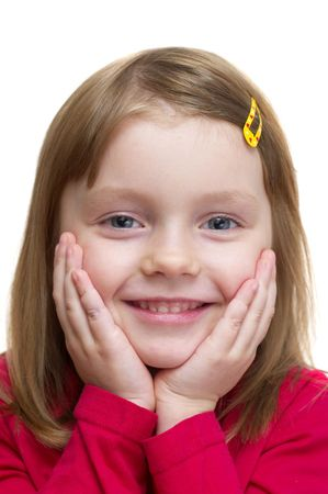 kidding: Funny smiling little girl portrait over white background