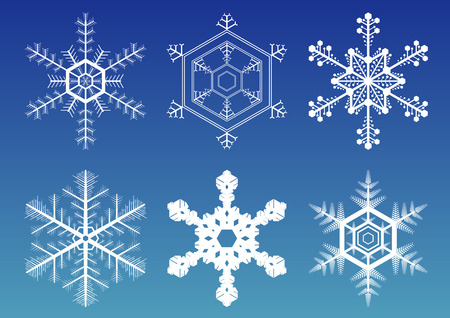 Six vector illustration snowflakes isolated over gradient blue background Stock Vector - 5878064
