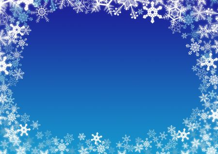 Winter snowflakes frame over blue gradient background Stock Photo - 5878062