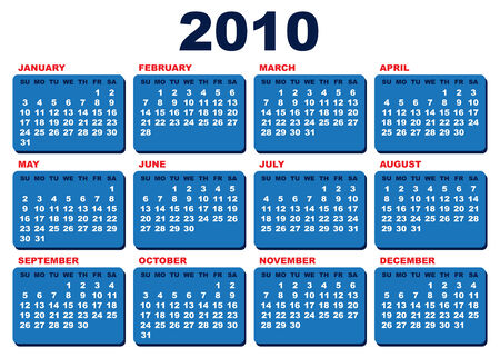 arial: Vector 2010 calendar template (Arial black font over white background)