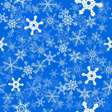 Winter snowflakes over blue seamless wallpaper background
