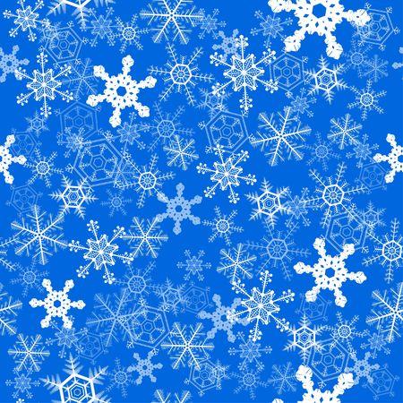 Zimowe płatki śniegu nad niebieskim bez szwu tapety tło