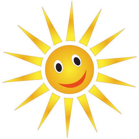 Cartoon weather forecast sun isolated over white background