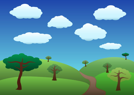Common hills and trees over blue sky illustration landscape Vector