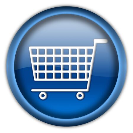 Shopping cart round glossy button isolated over white background Stock Photo - 6460333