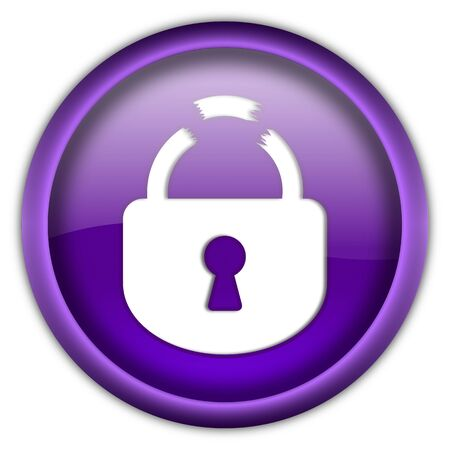 Broken lock round glossy button isolated over white background photo