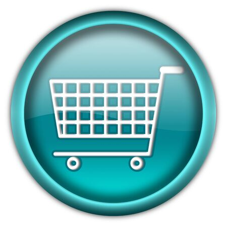 Shopping cart round glossy button isolated over white background Stock Photo - 6460434