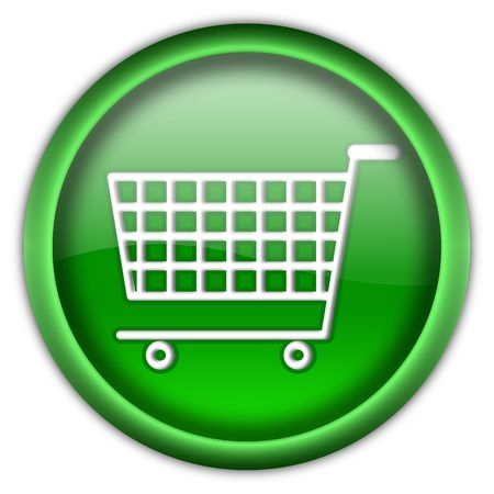 Shopping cart round glossy button isolated over white background Stock Photo - 6460426