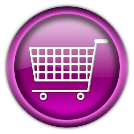 Shopping cart round glossy button isolated over white background Stock Photo - 6460422
