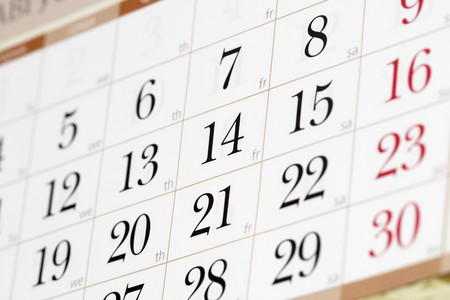 Calendar fragment perspective shot with partial blurred areas Stock Photo
