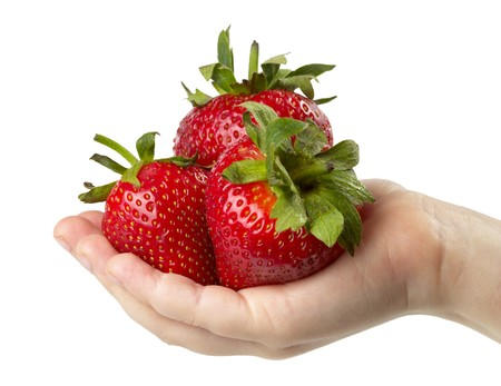 Three strawberries  in the childs hand isolated over white background