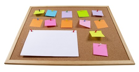 Cork office notice board with blank colorful sticker notes isolated over white background (wideangle) Stock Photo - 7271784
