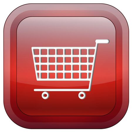 Shopping cart square glossy button isolated over white background Stock Photo - 7704863