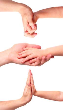 manos estrechadas: Handshakes padre e hijo aislados sobre fondo blanco conjunto  Foto de archivo