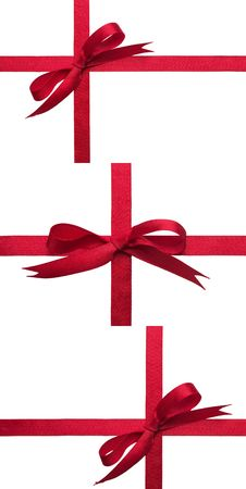 cross ties: Red gift celebration ribbon bows over white background set