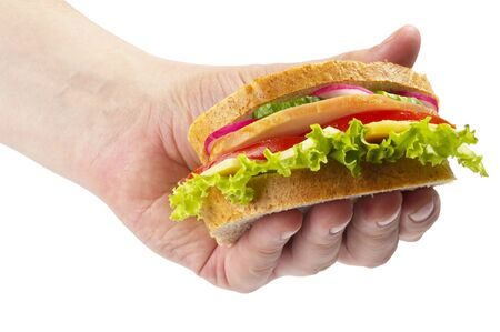 Sandwich with ham, tomato, radish, cucumber and cheese in the hand isolated over white background photo