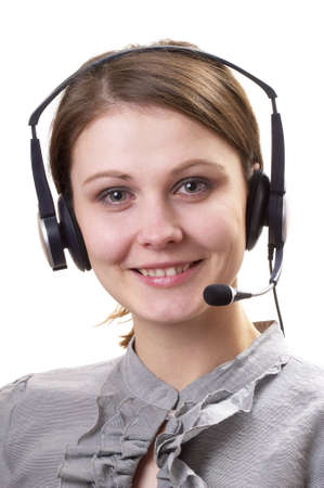 handsfree telephones: Friendly call center support service operator girl isolated over white background.