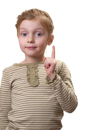 kidding: Little girl gesturing attention sign solated over white background (big thumb up) Stock Photo