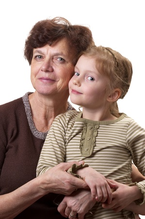 Grandmother and her granddaughter portrait isolated over white background Stock Photo - 8748388