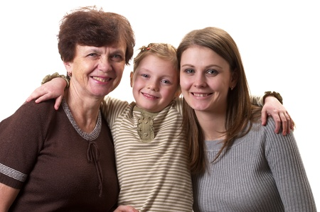 Grandmother, daughter and granddaughter portrait isolated over white background Stock Photo - 8748391