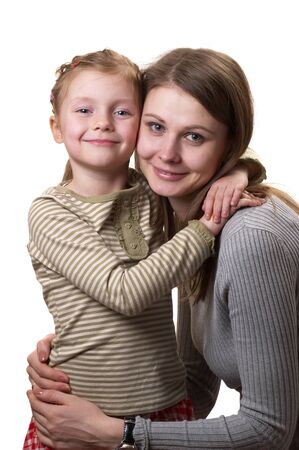 Mother and her little daughter hugging each other isolated over white background Stock Photo - 8743265