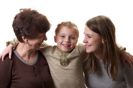 Grandmother, daughter and granddaughter portrait isolated over white background Stock Photo - 8955905