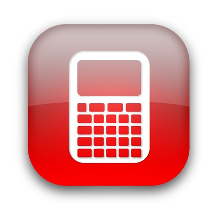 Kalkulator bÅ'yszczÄ…cy ikona przycisku samodzielnie nad biaÅ'ym tle Zdjęcie Seryjne