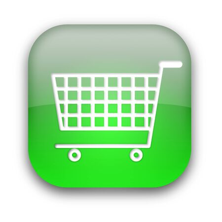 Shopping cart glossy button isolated over white background Stock Photo - 8955896