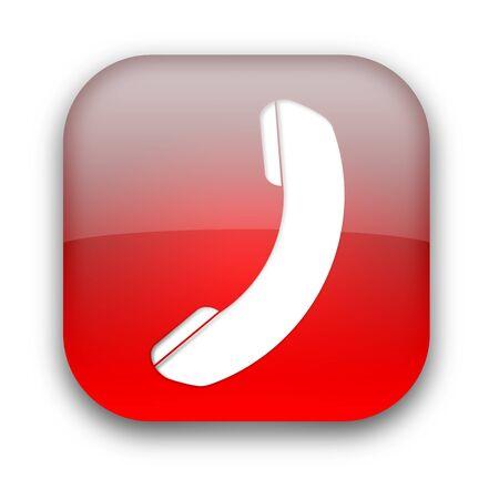 Błyszczący telefonu ikona przycisku samodzielnie nad białym tłem