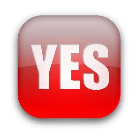 Glossy YES button isolated over white background Stock Photo - 8955851