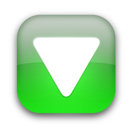 Green glossy button with white triangle turned down isolated over white background photo