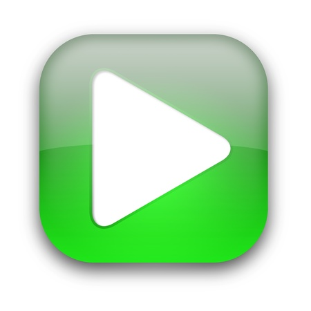 next icon: Green glossy button with white triangle turned right isolated over white background