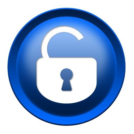 toegangscontrole: Geopend slot ronde knop geïsoleerd over witte achtergrond