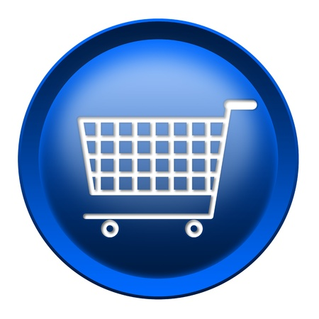 Shopping cart round button isolated over white background photo